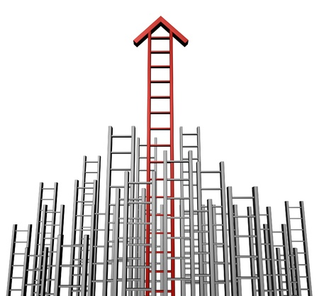 Success arrow ladder with a group of lower grey ladders and a red successful one rising to the top as a  business symbol of wealth and financial concept of investing advice isolated on a white background  photo