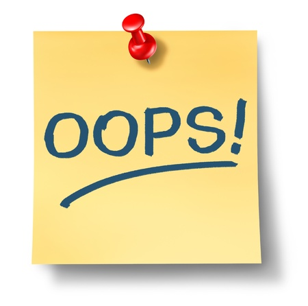 Business mistakes and financial error as an accident symbol with a yellow offce paper note and a red thumb tack pin with the word oops written on it on a white background  스톡 콘텐츠