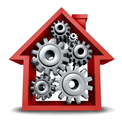 equity: Construction industry and home equity real estate concept with a red house icon and gears and cogs inside turning and working together to achieve financial and mortgage success