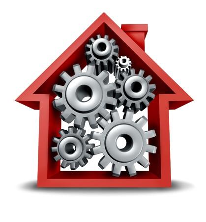 equidad: Industria de la construcción y el concepto de equidad de casa de bienes raíces con un icono de la casa roja y los engranajes y ruedas dentadas de giro interior y trabajar juntos para alcanzar el éxito financiero y la hipoteca
