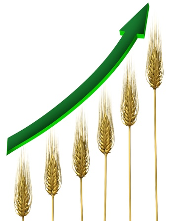 profiting: Farming industry and agriculture business profits symbol with rising and growing wheat chart and green arrow pointing upward isolated on a white background as an icon of food prices growth  Stock Photo