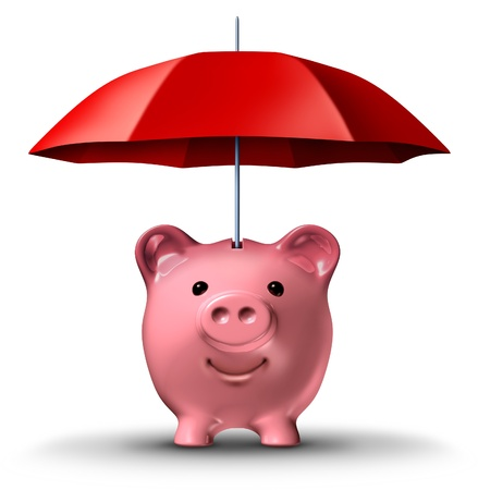 Financial insurance and wealth protection with a piggy bank and a red umbrella as a symbol of saving for a rainy day business concept on a white background Stock Photo - 14118641