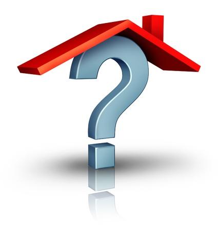 viviendas: Preguntas para el hogar y un s�mbolo de negocio inmobiliario de la incertidumbre de la industria de la construcci�n de viviendas con techo de color rojo sobre un signo de interrogaci�n en tres dimensiones sobre un fondo blanco Foto de archivo