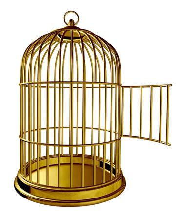 gabbie: Gabbia per uccelli Apri come una prigione dorata in metallo in ottone con una porta aperta come un simbolo di libert� e rilasciare isolato su sfondo bianco Archivio Fotografico