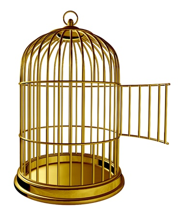 Open bird cage as a golden brass metal prison with an opened door as a symbol of freedom and release isolated on white background