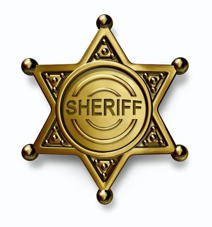 sheriff badge: Polic�a insignia con el sheriff palabra grabada en el bronce o el emblema de metal de oro con un s�mbolo de la protecci�n de la aplicaci�n de la seguridad y el derecho sobre un fondo blanco
