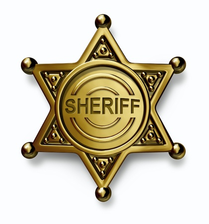sheriff badge: Police badge with the word sheriff embossed in the brass or gold metal emblem with as a symbol of security and law enforcement protection on a white background