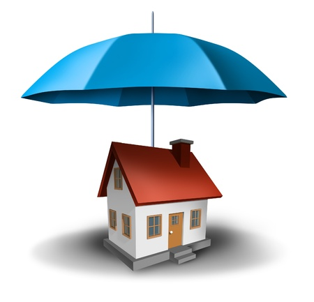 real estate safety with a house being protected with a secure blue umbrella as a symbol of residential security from mortgage payments or damage on a white background  Stock Photo