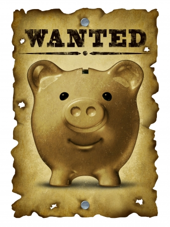 bank western: Savings and finance concept with an old grunge western wanted poster with bullet holes and a portrait of a vintage piggy bank as a symbol of home finances and searching for financial sucess