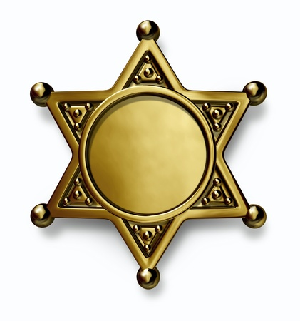sheriff: Sheriff and police brass or gold metal badge with blank center as a symbol of security and law enforcement on a white background
