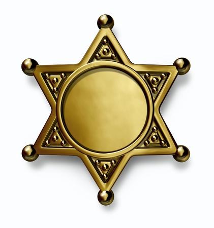 sheriff badge: Sheriff y la polic�a de lat�n o placa de metal de oro con centro en blanco como s�mbolo de la aplicaci�n de la seguridad y el derecho sobre un fondo blanco