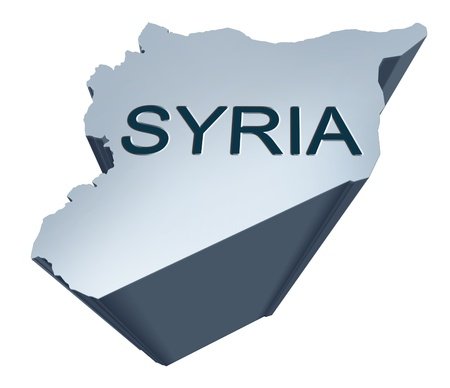 geographical locations: Syria dimensional map from the middle East Stock Photo