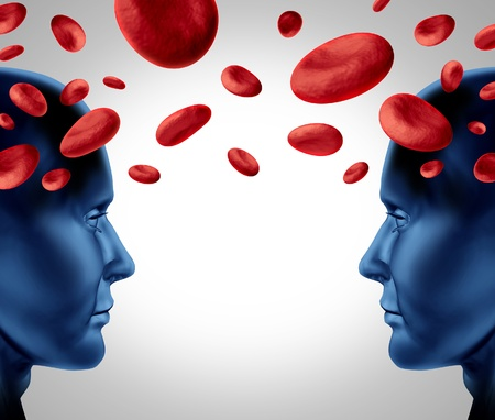 Blood donation and medical transfusion as a symbol of human health care with red cells floating between two human heads on a white background  photo