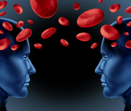 Blood donation and medical transfusion as a symbol of human health care with red cells floating between two human heads on a black background  photo