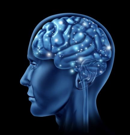 Cerebro activa la función mental como un símbolo de la neurología de la actividad de pensamiento