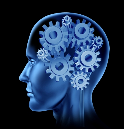 Human intelligence head concept with gears and cogs as symbols of brain function as a neurological health care icon