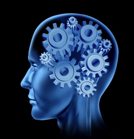 inteligencia: La inteligencia humana concepto de la cabeza con engranajes y dientes como s�mbolos de la funci�n del cerebro como un icono de la salud neurol�gica