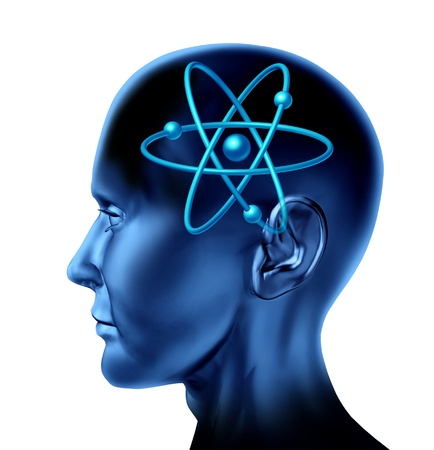 dimensionally: Atom molecule science symbol brain scientific mind thinker as a blue human head on an isolated white background  Stock Photo