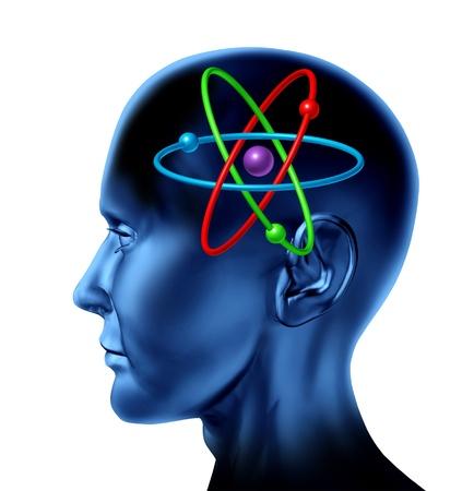 흰색 개념에 고립 된 멀티 컬러 과학적 마음 사상가의 두뇌 원자 분자 과학 기호