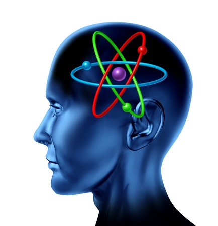 dimensionally: Atom molecule science symbol as a brain of scientific mind thinker as multi color isolated on white concept