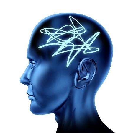 enfermedades mentales: Cerebro como una p�rdida de memoria confusa mara�a mental, alziemers aisladas sobre fondo blanco