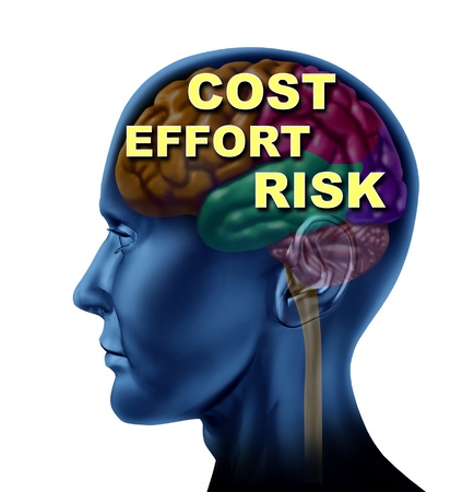 dow: Brain finance as a concept of opportunity cost effort and risk isolated on a white background as a concept of business thinking