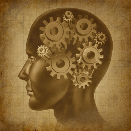 brain function: Intelligence brain function with gears and cogs in the mind as an ancient grunge old medical parchment
