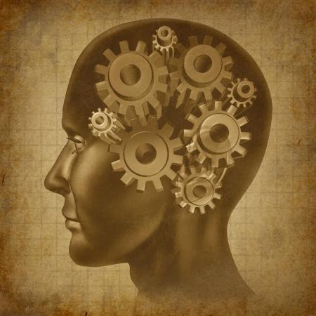 kopf: Intelligence-Funktion des Gehirns mit Getriebe und Zahnr�der im Kopf als eine alte Grunge alten medizinischen Pergament