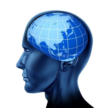 rotating: Head brain asia orient business man economist investor stock marketsblue earth globe isolated on white Stock Photo