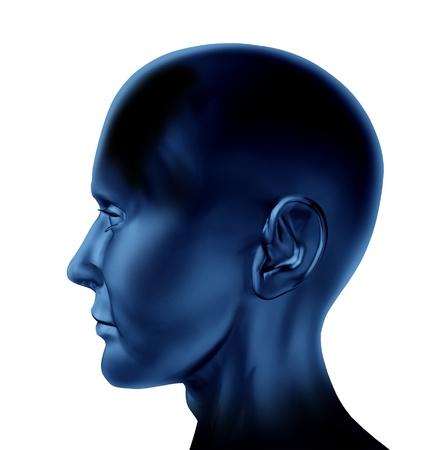 valores morales: En blanco cabeza humana con una vista lateral de una cara en un fondo blanco aislado
