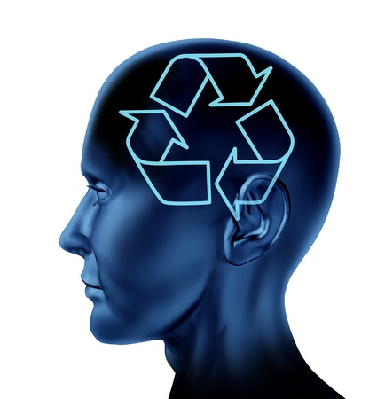 Recycle recycling and reuse symbol of the environment as a Brain mind head with a conservation icon on a black background  Stock Photo