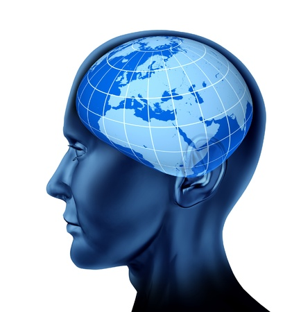 globe grid: Head brain europe business man as an economist investor for stock markets blue earth globe isolated on white