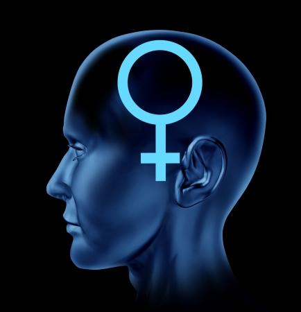 equidad: Mujer símbolo de la mujer cabeza de cerebro idea de la mente de la inteligencia femenina aisladas sobre fondo negro Foto de archivo