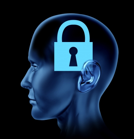 brain mysteries: Human head with a closed locked mind as an icon of a lock on a black isolated background