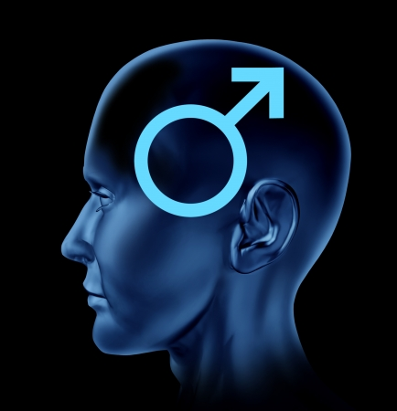 medical decisions: Male icon and a concept of a man with a human head on a black background