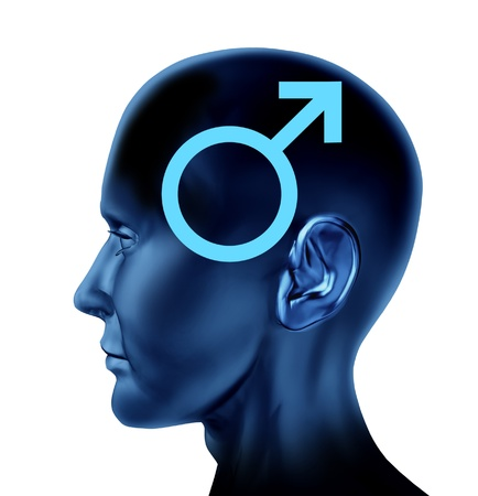 masculin: Male symbol with a side view human head and an icon for man and masculin issues on a black background  Stock Photo