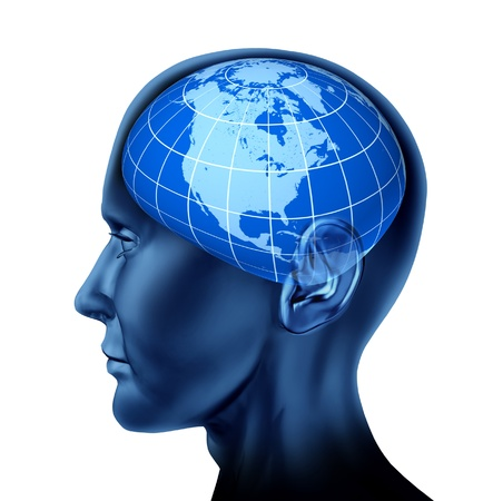 economist: Head brain north america business man economist investor as stock markets symbol with a blue earth globe isolated on white  Stock Photo