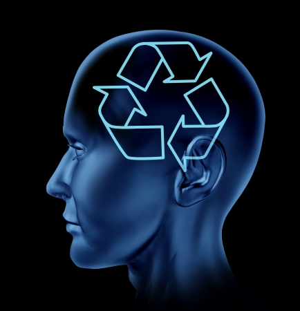 Recycle recycling reuse environment symbol with a human Brain as a conservation mind and intelligence Stock Photo - 14119186