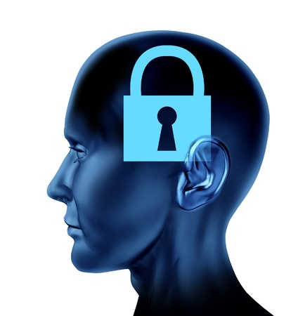 brain mysteries: Lock closed locked secrets mystery symbol as a side view Brain and mind head as a concept of rigid ideas and intelligence