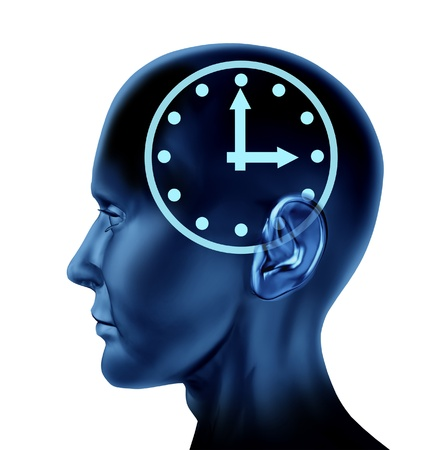 compute: Time schedule symbol with a human head and clock icon as a concept of business appointments