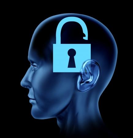 mente: Abra el cerebro mente humana como un s�mbolo del pensamiento nuevo que representa la creatividad se abri� sobre un fondo blanco Foto de archivo