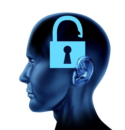 lobes: Lock un-locked open secrets symbol Brain mind icon with a side view head as an  idea of intelligence Stock Photo