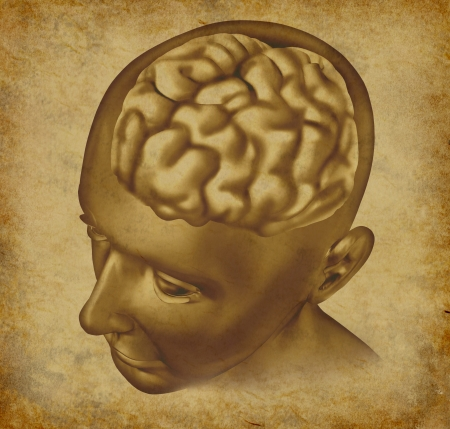 Brain intelligence mind on an ancient grunge old medical parchment document  photo