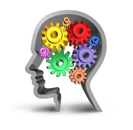 percepción: El cerebro humano la inteligencia actividad aislada en un fondo blanco