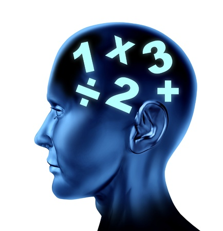 disable: Math brain calculating as a mathematical mind as an education of numbers  Stock Photo