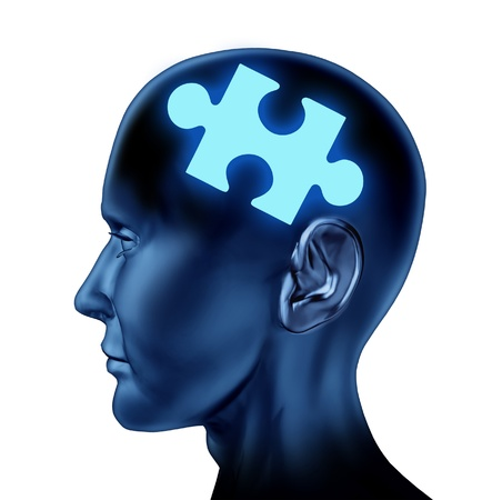 Puzzled brain representing solutions and creativity with a missing piece of the puzzle as a mental health icon isolated on a white background  photo