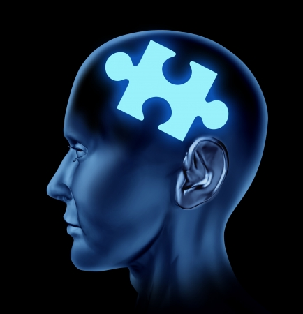 health answers: Puzzled brain representing solutions and creativity with a missing piece of the puzzle isolated on a white background as a symbol of mental health care