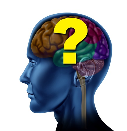 beliefs: Brain question mark as a concept of decisions and confusion looking for answers as a human side view head  Stock Photo