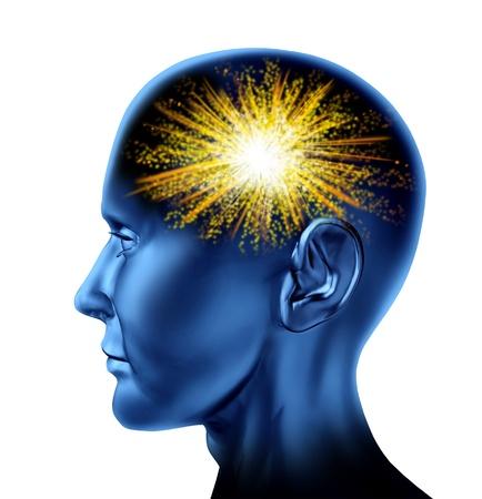 창의적 사고의 발명의 상징과 지혜로 인간의 두뇌에서 천재의 불꽃