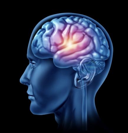 La chispa de la genialidad símbolo representado por una parte brillante de la sección central del cerebro que muestra el concepto de la inteligencia y la creatividad en un fondo negro Foto de archivo